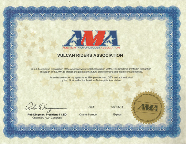 American Motorcyclist Association Certificate